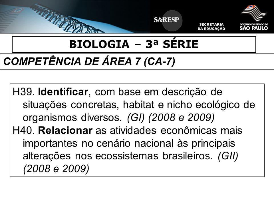 BIOLOGIA – 3ª SÉRIE COMPETÊNCIA DE ÁREA 7 (CA-7) H39. Identificar, com base em descrição de situações concretas, habitat e nicho ecológico de organism