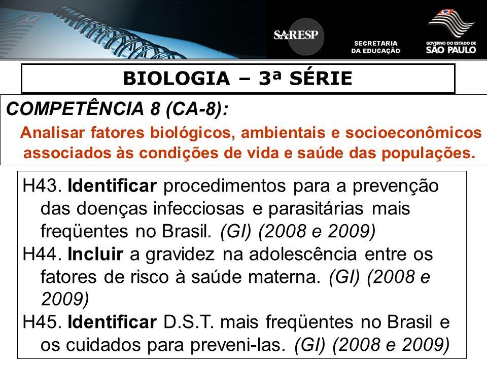 BIOLOGIA – 3ª SÉRIE COMPETÊNCIA 8 (CA-8): Analisar fatores biológicos, ambientais e socioeconômicos associados às condições de vida e saúde das popula