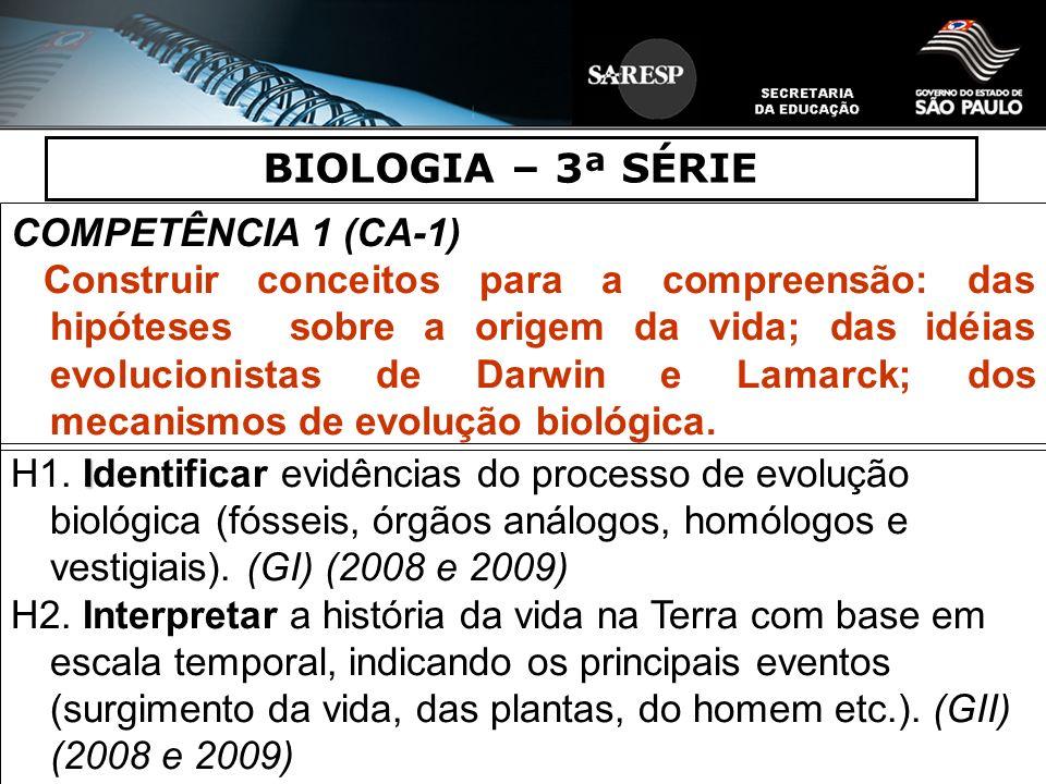 BIOLOGIA – 3ª SÉRIE COMPETÊNCIA 1 (CA-1) Construir conceitos para a compreensão: das hipóteses sobre a origem da vida; das idéias evolucionistas de Da
