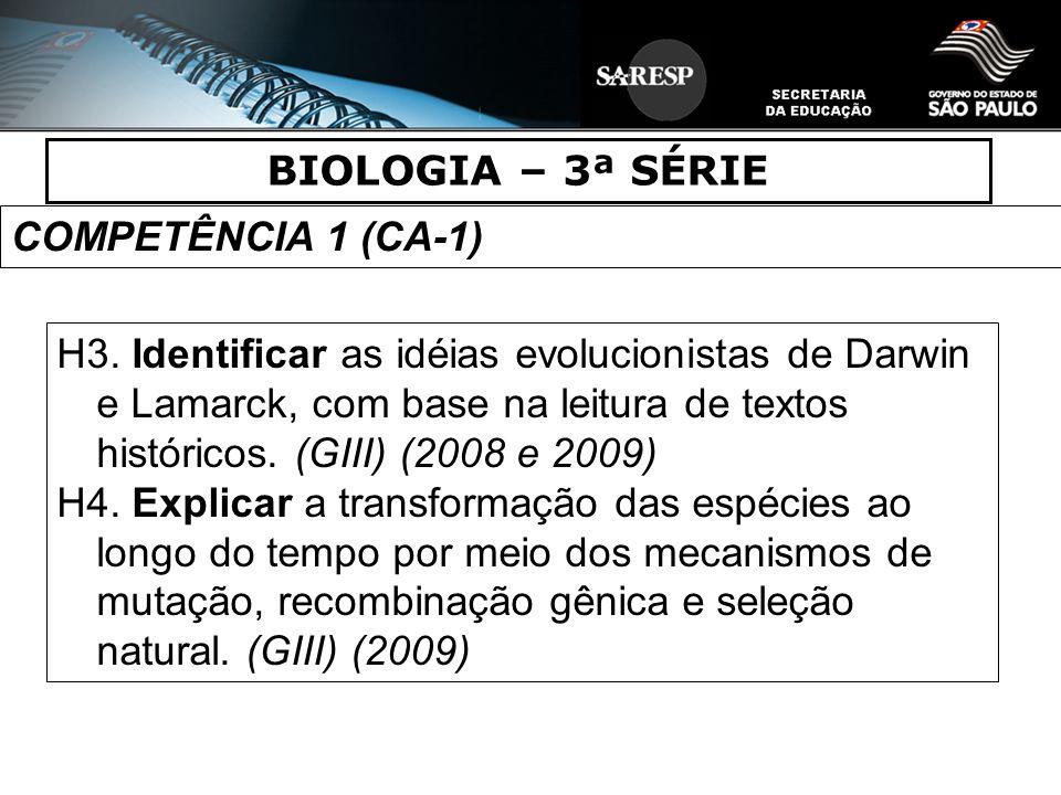 BIOLOGIA – 3ª SÉRIE COMPETÊNCIA 1 (CA-1) H3. Identificar as idéias evolucionistas de Darwin e Lamarck, com base na leitura de textos históricos. (GIII