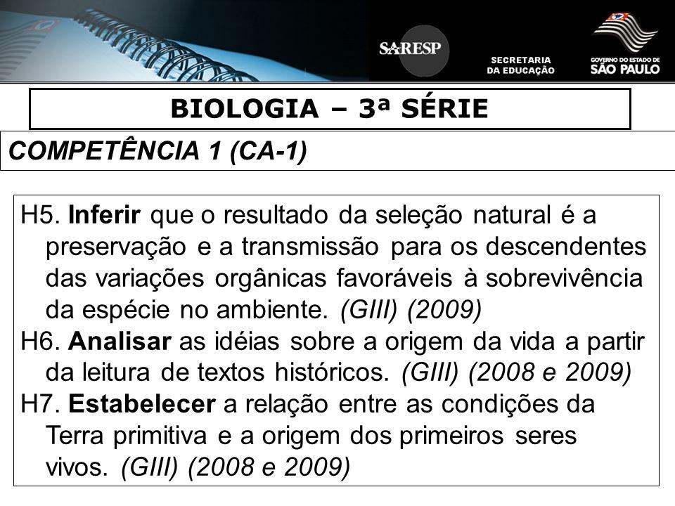 BIOLOGIA – 3ª SÉRIE COMPETÊNCIA 1 (CA-1) H5. Inferir que o resultado da seleção natural é a preservação e a transmissão para os descendentes das varia