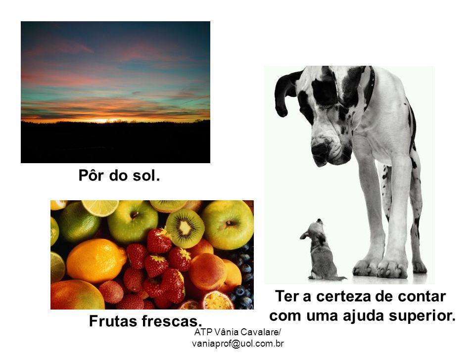 ATP Vânia Cavalare/ vaniaprof@uol.com.br Pôr do sol. Ter a certeza de contar com uma ajuda superior. Frutas frescas.