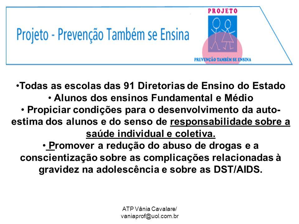 ATP Vânia Cavalare/ vaniaprof@uol.com.br Todas as escolas das 91 Diretorias de Ensino do Estado Alunos dos ensinos Fundamental e Médio Propiciar condi