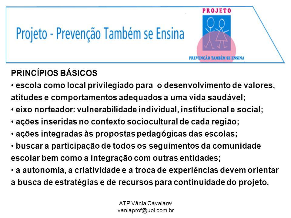 ATP Vânia Cavalare/ vaniaprof@uol.com.br PRINCÍPIOS BÁSICOS escola como local privilegiado para o desenvolvimento de valores, atitudes e comportamento