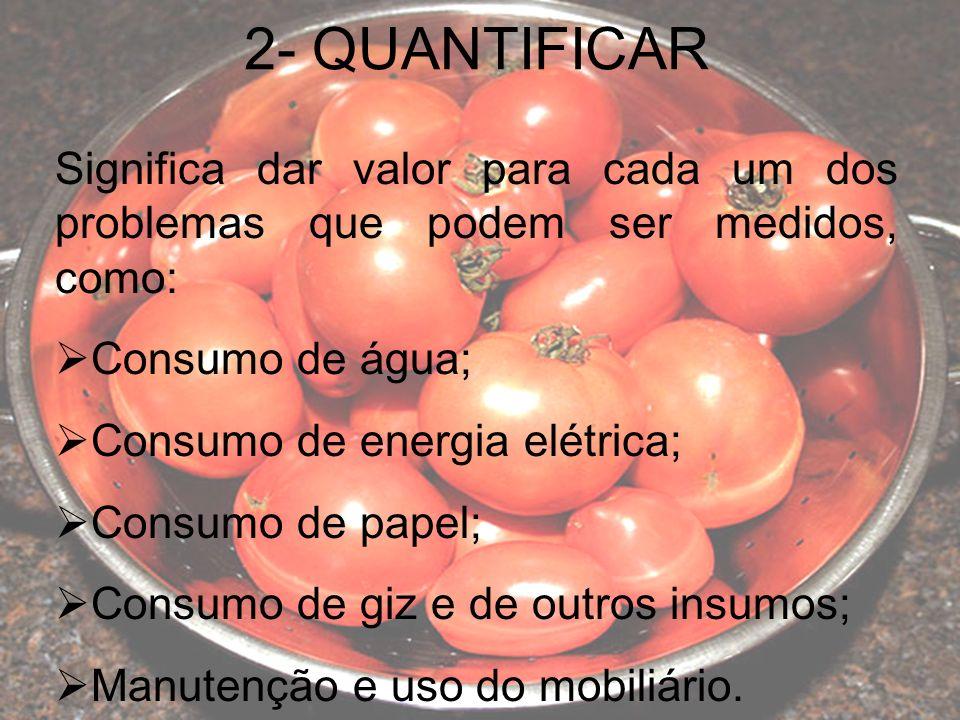 2- QUANTIFICAR Significa dar valor para cada um dos problemas que podem ser medidos, como: Consumo de água; Consumo de energia elétrica; Consumo de papel; Consumo de giz e de outros insumos; Manutenção e uso do mobiliário.