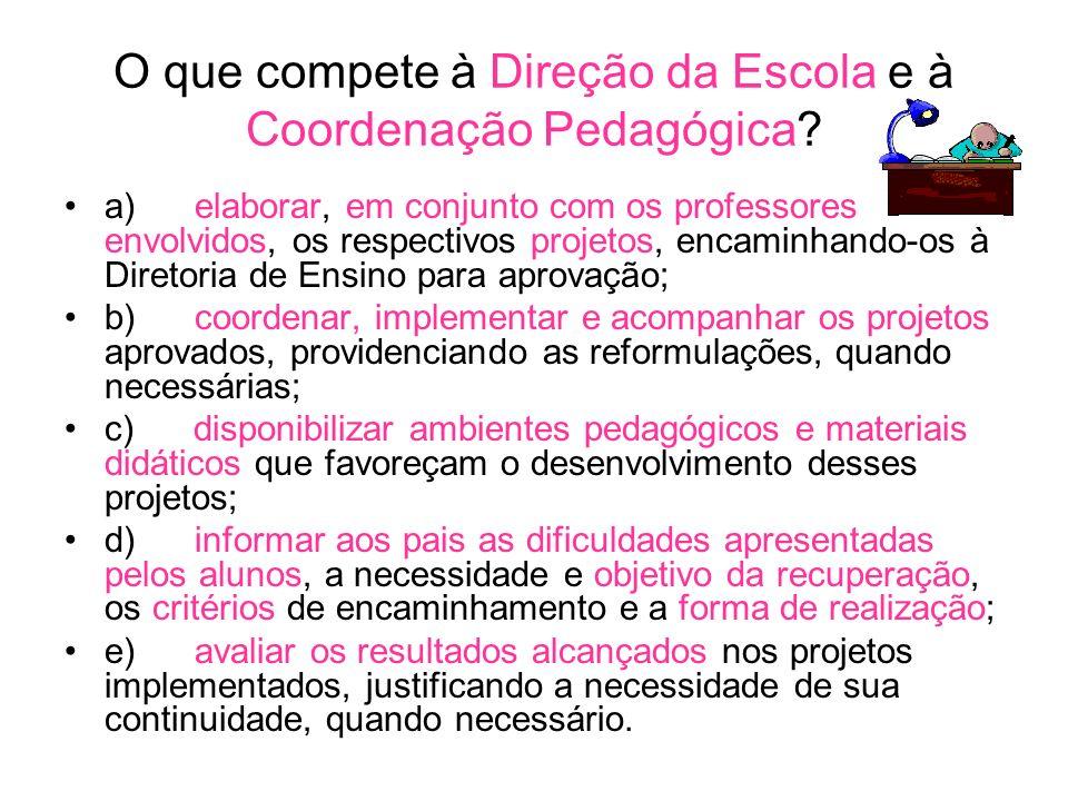 O que compete à Direção da Escola e à Coordenação Pedagógica.