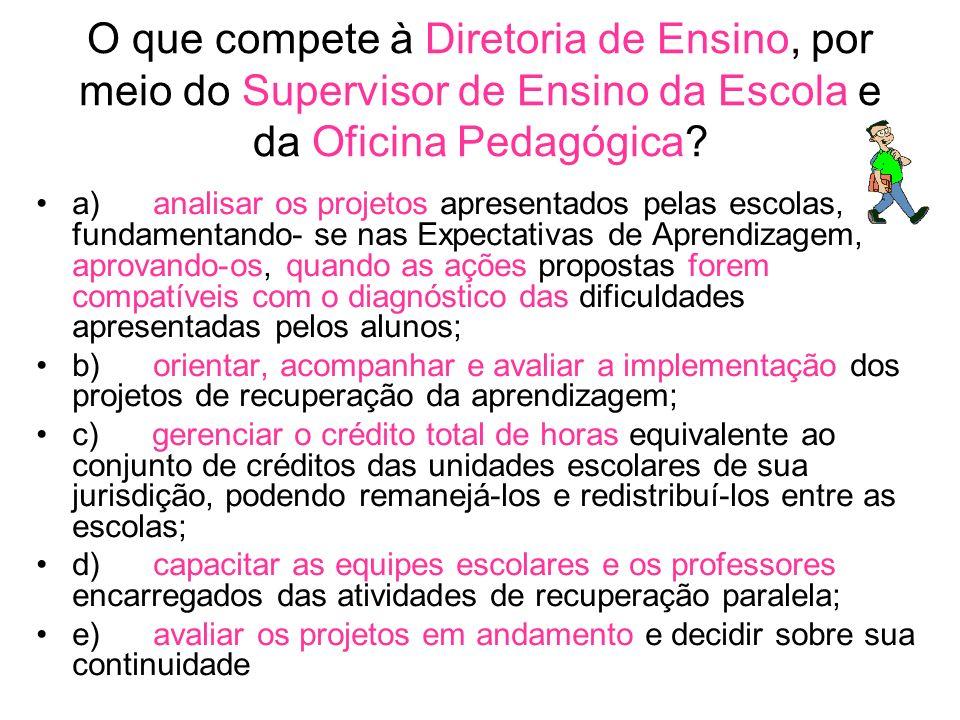 O que compete à Diretoria de Ensino, por meio do Supervisor de Ensino da Escola e da Oficina Pedagógica.