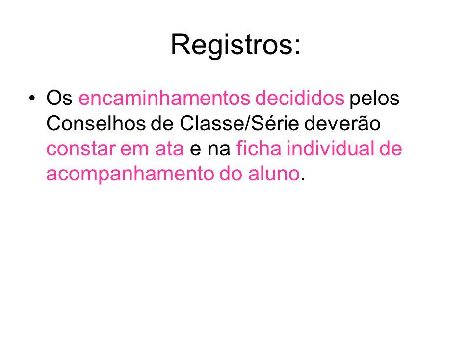Registros: Os encaminhamentos decididos pelos Conselhos de Classe/Série deverão constar em ata e na ficha individual de acompanhamento do aluno.