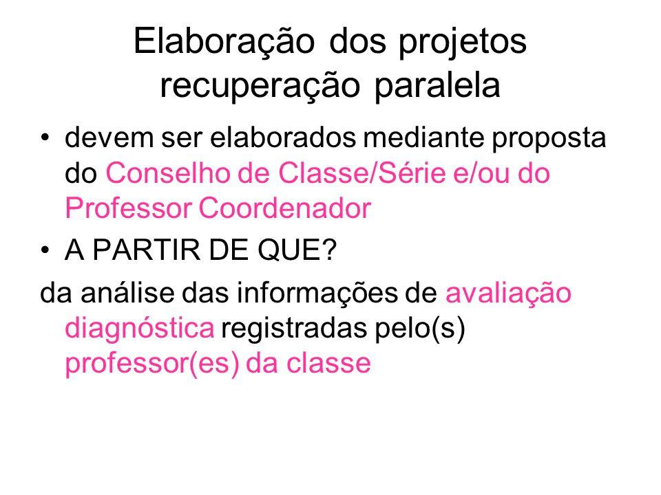 Elaboração dos projetos recuperação paralela devem ser elaborados mediante proposta do Conselho de Classe/Série e/ou do Professor Coordenador A PARTIR DE QUE.