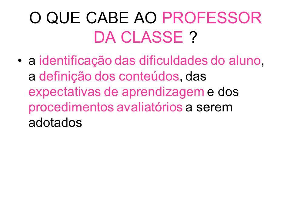 O QUE CABE AO PROFESSOR DA CLASSE .