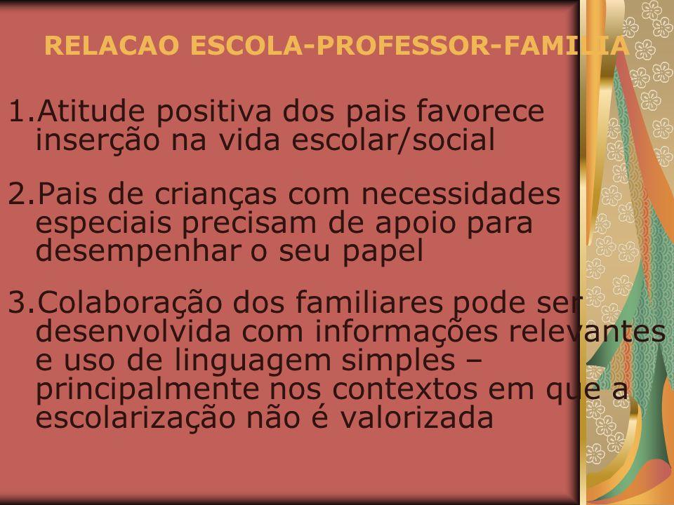 RELACAO ESCOLA-PROFESSOR-FAMILIA 1.Atitude positiva dos pais favorece inserção na vida escolar/social 2.Pais de crianças com necessidades especiais pr