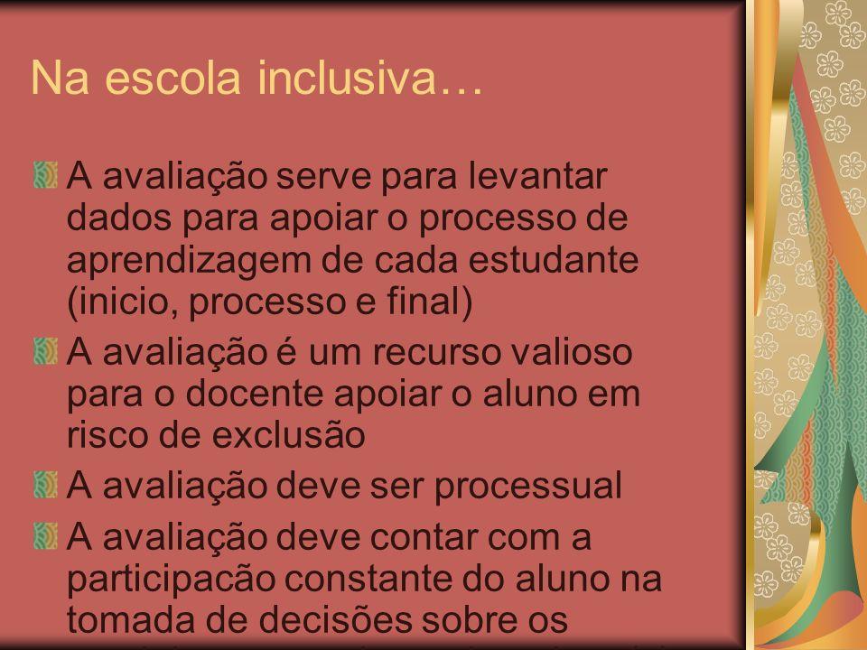 Na escola inclusiva… A avaliação serve para levantar dados para apoiar o processo de aprendizagem de cada estudante (inicio, processo e final) A avali
