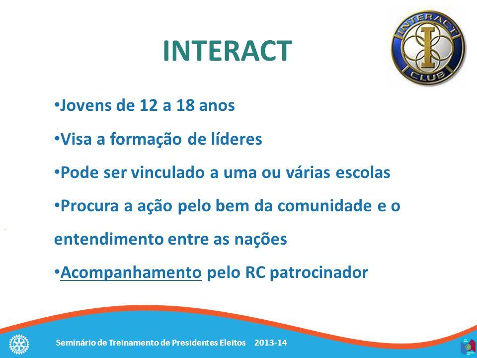 Seminário de Treinamento de Presidentes Eleitos 2013-14 INTERACT Jovens de 12 a 18 anos Visa a formação de líderes Pode ser vinculado a uma ou várias