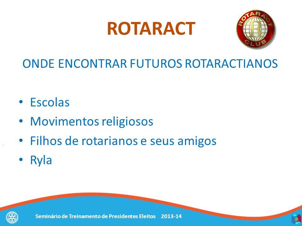 Seminário de Treinamento de Presidentes Eleitos 2013-14 ONDE ENCONTRAR FUTUROS ROTARACTIANOS Escolas Movimentos religiosos Filhos de rotarianos e seus amigos Ryla ROTARACT