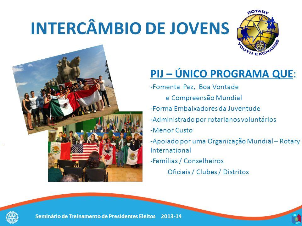 Seminário de Treinamento de Presidentes Eleitos 2013-14 INTERCÂMBIO DE JOVENS PIJ – ÚNICO PROGRAMA QUE: -Fomenta Paz, Boa Vontade e Compreensão Mundia