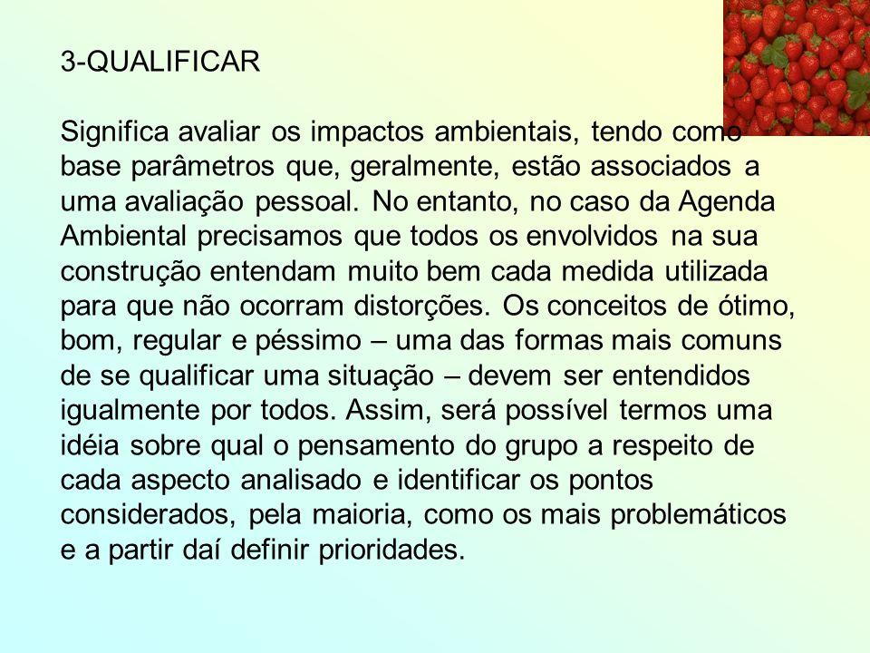 3-QUALIFICAR Significa avaliar os impactos ambientais, tendo como base parâmetros que, geralmente, estão associados a uma avaliação pessoal. No entant