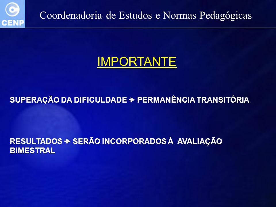 Coordenadoria de Estudos e Normas Pedagógicas IMPORTANTE SUPERAÇÃO DA DIFICULDADE PERMANÊNCIA TRANSITÓRIA RESULTADOS SERÃO INCORPORADOS À AVALIAÇÃO BI