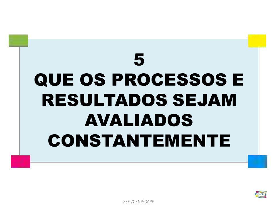 5 QUE OS PROCESSOS E RESULTADOS SEJAM AVALIADOS CONSTANTEMENTE SEE /CENP/CAPE