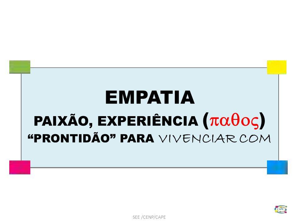 EMPATIA PAIXÃO, EXPERIÊNCIA ( ) PRONTIDÃO PARA VIVENCIAR COM EMPATIA PAIXÃO, EXPERIÊNCIA ( ) PRONTIDÃO PARA VIVENCIAR COM SEE /CENP/CAPE