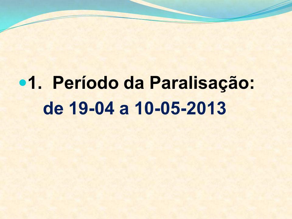 1. Período da Paralisação: de 19-04 a 10-05-2013
