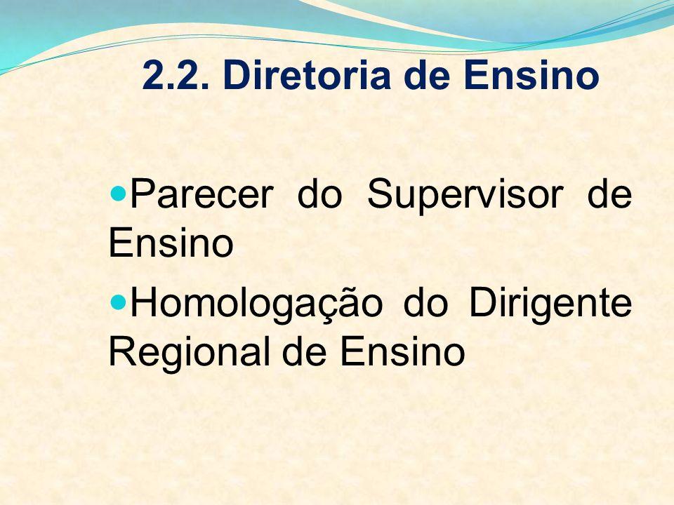 2.2. Diretoria de Ensino Parecer do Supervisor de Ensino Homologação do Dirigente Regional de Ensino
