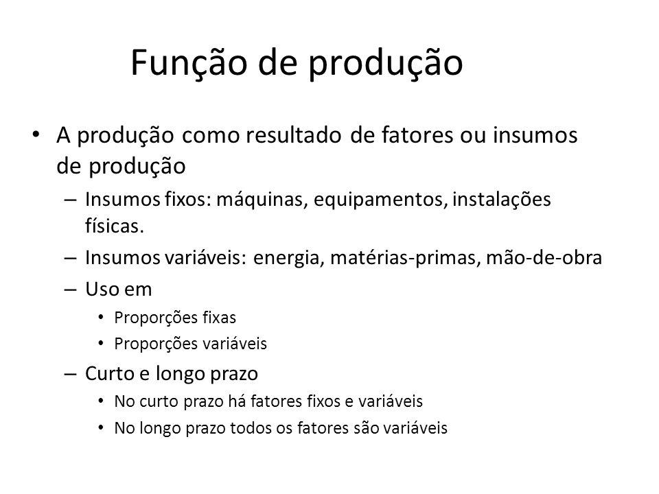 Função de produção A produção como resultado de fatores ou insumos de produção – Insumos fixos: máquinas, equipamentos, instalações físicas. – Insumos