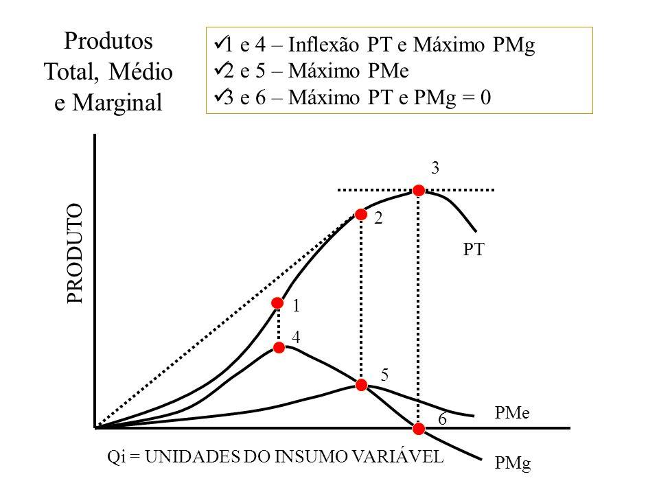 Produtos Total, Médio e Marginal 1 2 3 4 5 6 PT PMe PMg Qi = UNIDADES DO INSUMO VARIÁVEL PRODUTO 1 e 4 – Inflexão PT e Máximo PMg 2 e 5 – Máximo PMe 3