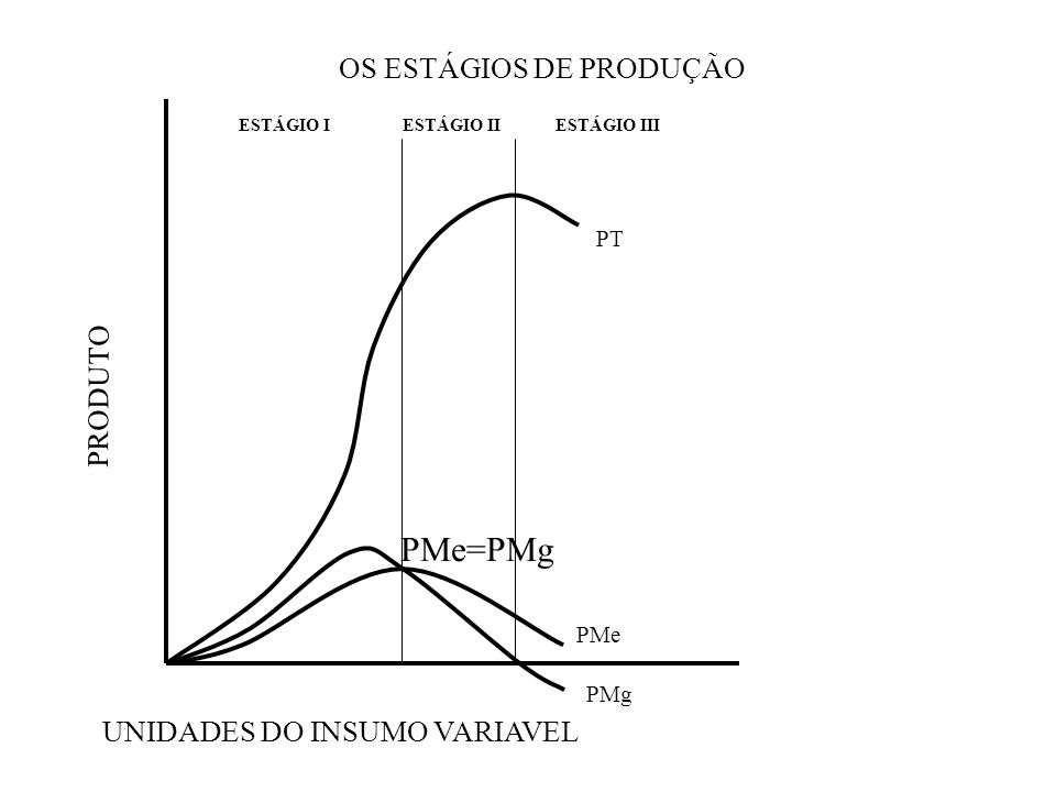 OS ESTÁGIOS DE PRODUÇÃO PRODUTO UNIDADES DO INSUMO VARIAVEL ESTÁGIO IESTÁGIO IIESTÁGIO III PMe PMg PT PMe=PMg