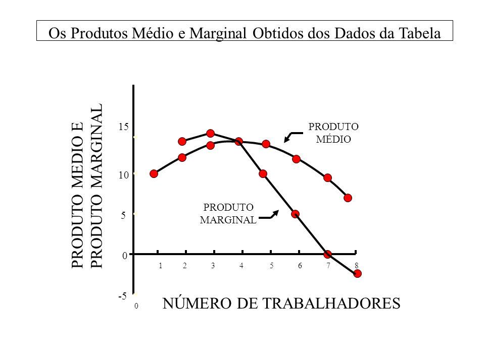 NÚMERO DE TRABALHADORES -5 1 2 3 4 5 6 7 8 0 0 5 10 15PRODUTO MÉDIO PRODUTO MARGINAL Os Produtos Médio e Marginal Obtidos dos Dados da Tabela PRODUTO