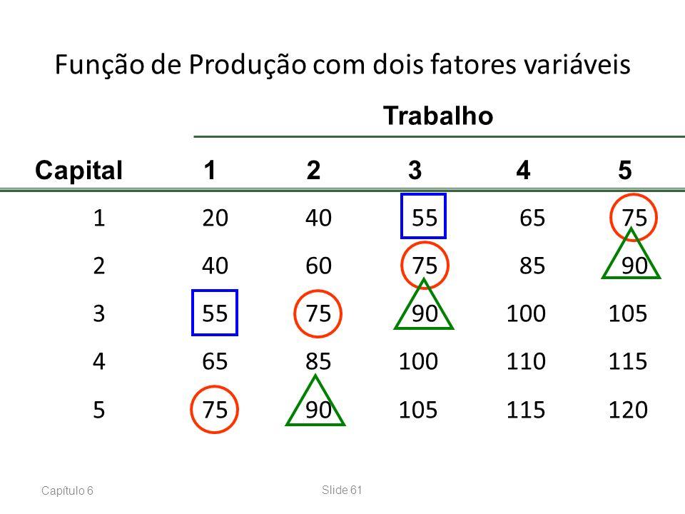 Capítulo 6Slide 61 Função de Produção com dois fatores variáveis 12040556575 24060758590 3557590100105 46585100110115 57590105115120 Capital 12345 Tra
