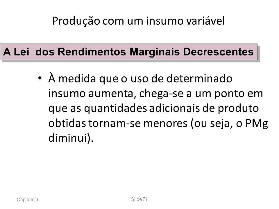 Capítulo 6Slide 71 À medida que o uso de determinado insumo aumenta, chega-se a um ponto em que as quantidades adicionais de produto obtidas tornam-se