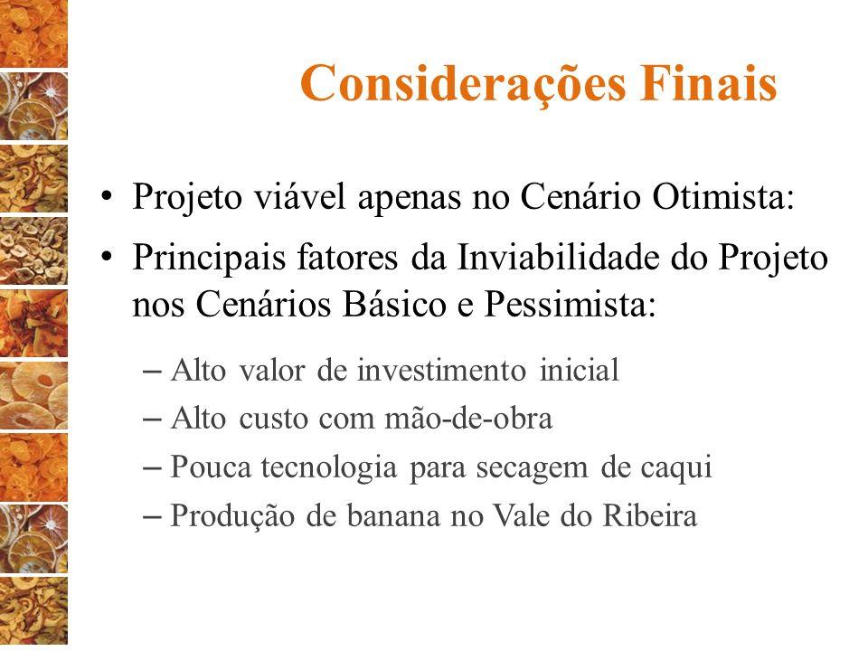 Considerações Finais Projeto viável apenas no Cenário Otimista: Principais fatores da Inviabilidade do Projeto nos Cenários Básico e Pessimista: – Alt