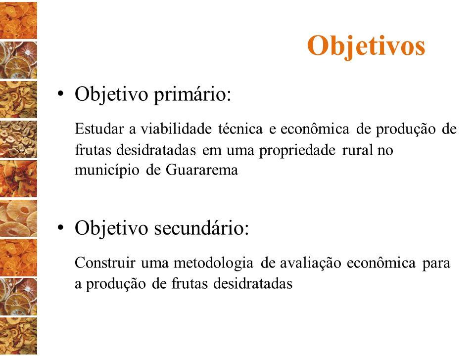 Objetivos Objetivo primário: Estudar a viabilidade técnica e econômica de produção de frutas desidratadas em uma propriedade rural no município de Gua