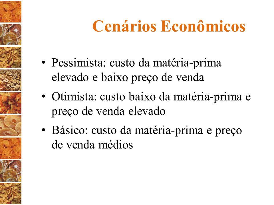 Cenários Econômicos Pessimista: custo da matéria-prima elevado e baixo preço de venda Otimista: custo baixo da matéria-prima e preço de venda elevado
