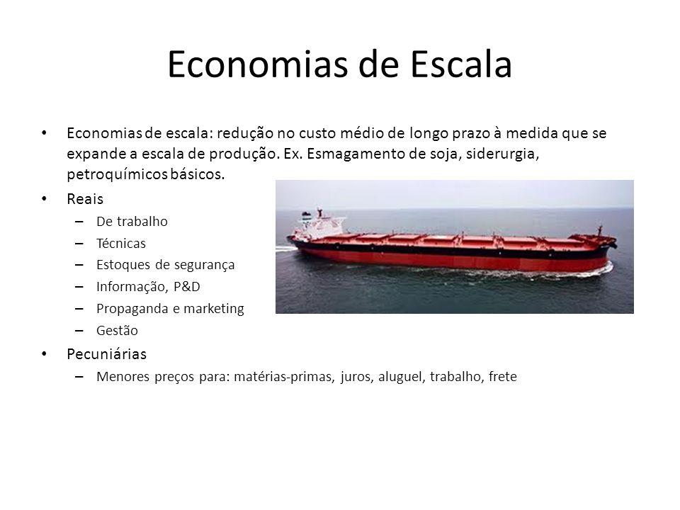 Economias de escala: redução no custo médio de longo prazo à medida que se expande a escala de produção.