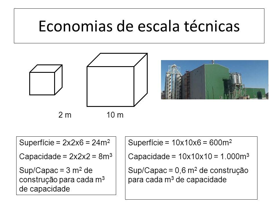 Economias de escala técnicas 2 m 10 m Superfície = 2x2x6 = 24m 2 Capacidade = 2x2x2 = 8m 3 Sup/Capac = 3 m 2 de construção para cada m 3 de capacidade Superfície = 10x10x6 = 600m 2 Capacidade = 10x10x10 = 1.000m 3 Sup/Capac = 0,6 m 2 de construção para cada m 3 de capacidade