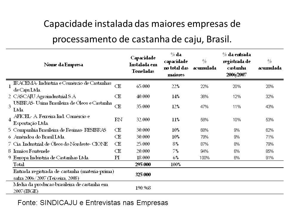 Capacidade instalada das maiores empresas de processamento de castanha de caju, Brasil. Fonte: SINDICAJU e Entrevistas nas Empresas