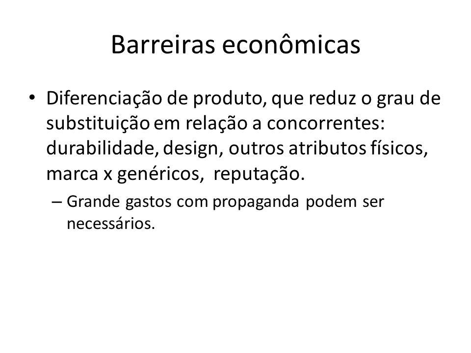 Barreiras econômicas Diferenciação de produto, que reduz o grau de substituição em relação a concorrentes: durabilidade, design, outros atributos físicos, marca x genéricos, reputação.