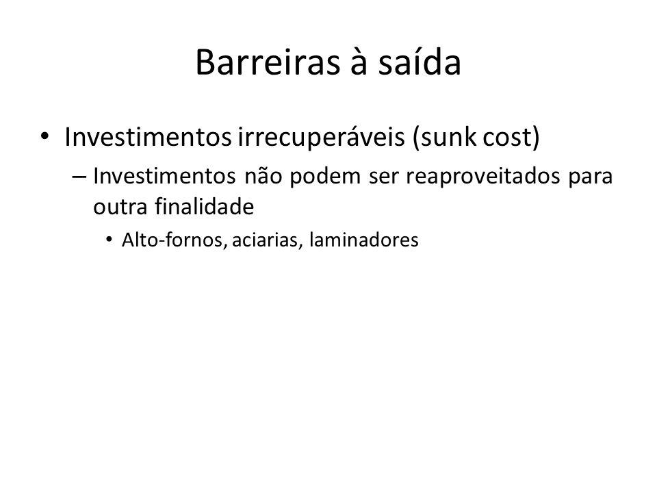 Barreiras à saída Investimentos irrecuperáveis (sunk cost) – Investimentos não podem ser reaproveitados para outra finalidade Alto-fornos, aciarias, laminadores