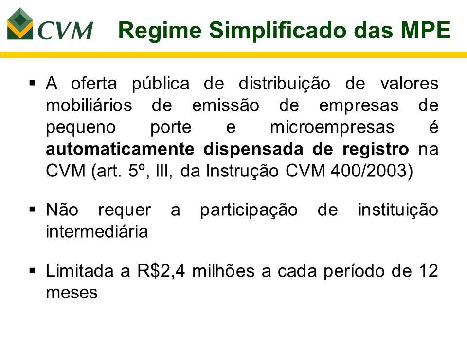 Regime Simplificado das MPE A oferta pública de distribuição de valores mobiliários de emissão de empresas de pequeno porte e microempresas é automati