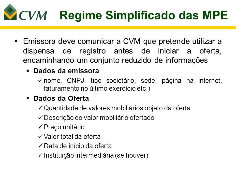 Regime Simplificado das MPE Emissora deve comunicar a CVM que pretende utilizar a dispensa de registro antes de iniciar a oferta, encaminhando um conj