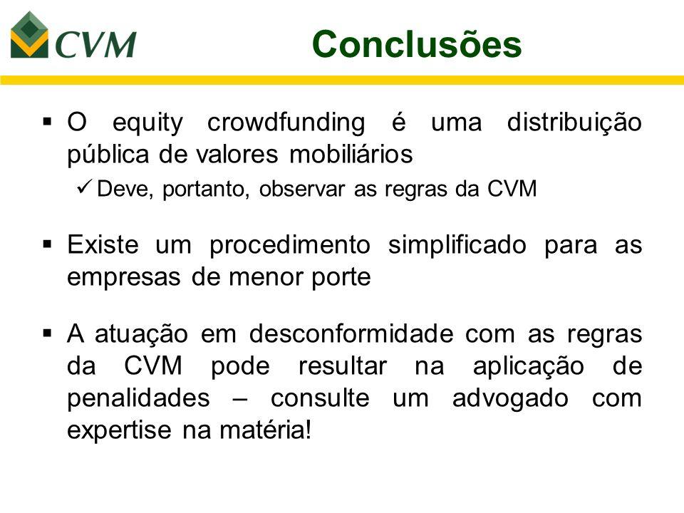 Conclusões O equity crowdfunding é uma distribuição pública de valores mobiliários Deve, portanto, observar as regras da CVM Existe um procedimento si