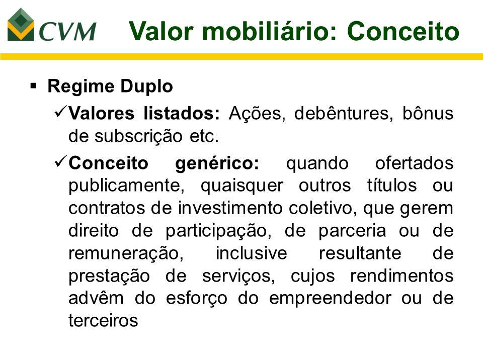 Valor mobiliário: Conceito Regime Duplo Valores listados: Ações, debêntures, bônus de subscrição etc. Conceito genérico: quando ofertados publicamente