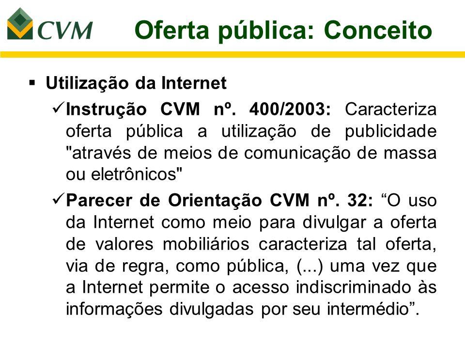 Oferta pública: Conceito Utilização da Internet Instrução CVM nº. 400/2003: Caracteriza oferta pública a utilização de publicidade