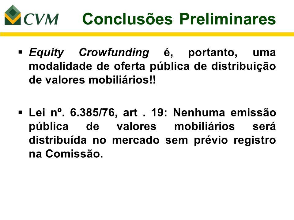 Conclusões Preliminares Equity Crowfunding é, portanto, uma modalidade de oferta pública de distribuição de valores mobiliários!! Lei nº. 6.385/76, ar