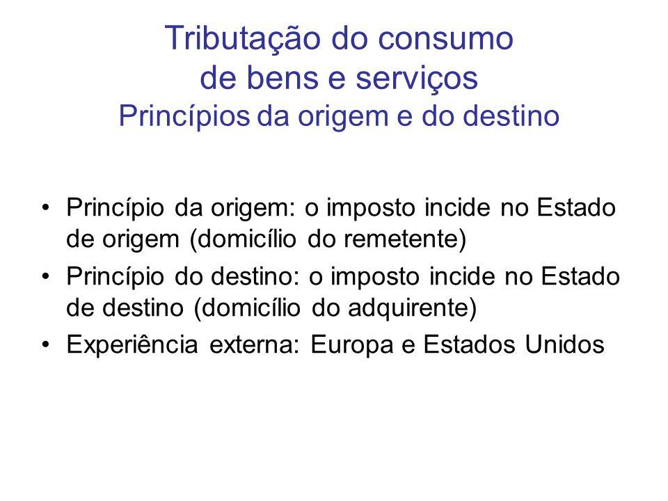 Tributação do consumo de bens e serviços Princípios da origem e do destino Princípio da origem: o imposto incide no Estado de origem (domicílio do rem