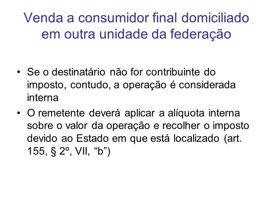 Venda a consumidor final domiciliado em outra unidade da federação Se o destinatário não for contribuinte do imposto, contudo, a operação é considerad