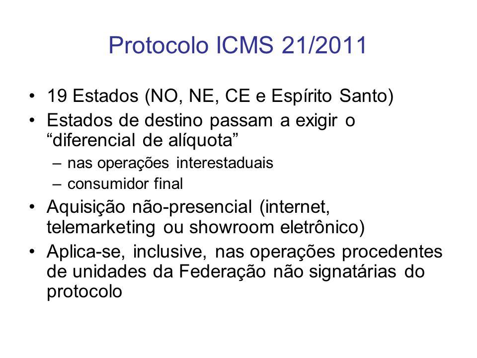 Protocolo ICMS 21/2011 19 Estados (NO, NE, CE e Espírito Santo) Estados de destino passam a exigir o diferencial de alíquota –nas operações interestad