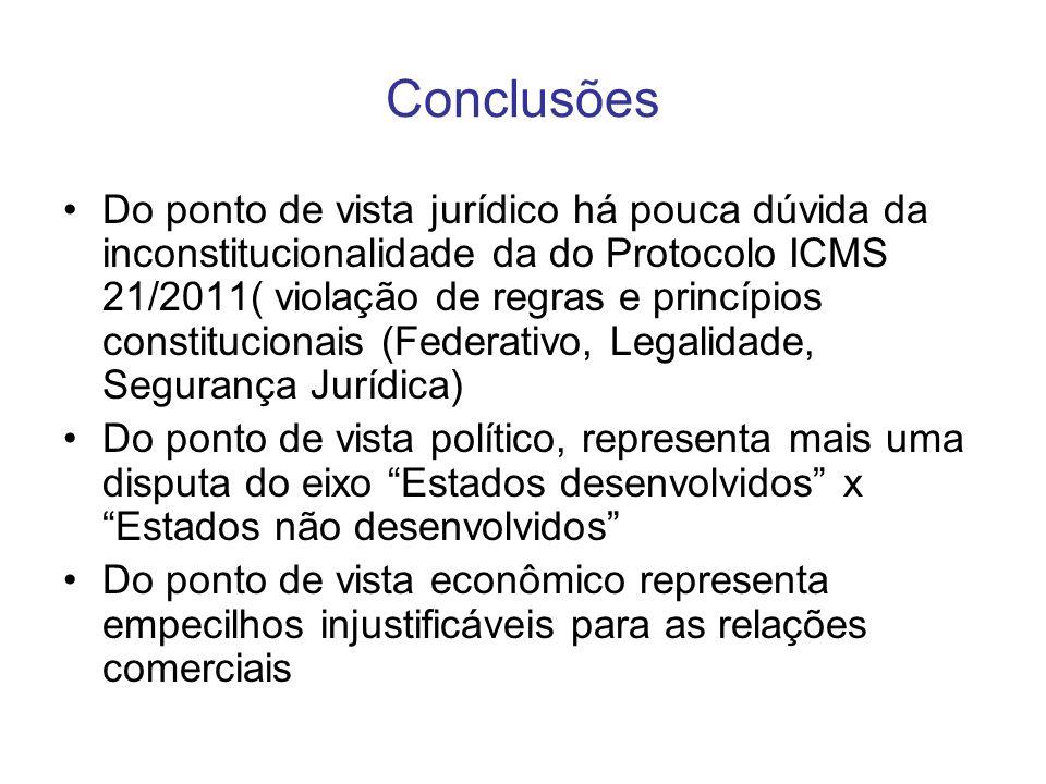 Conclusões Do ponto de vista jurídico há pouca dúvida da inconstitucionalidade da do Protocolo ICMS 21/2011( violação de regras e princípios constituc