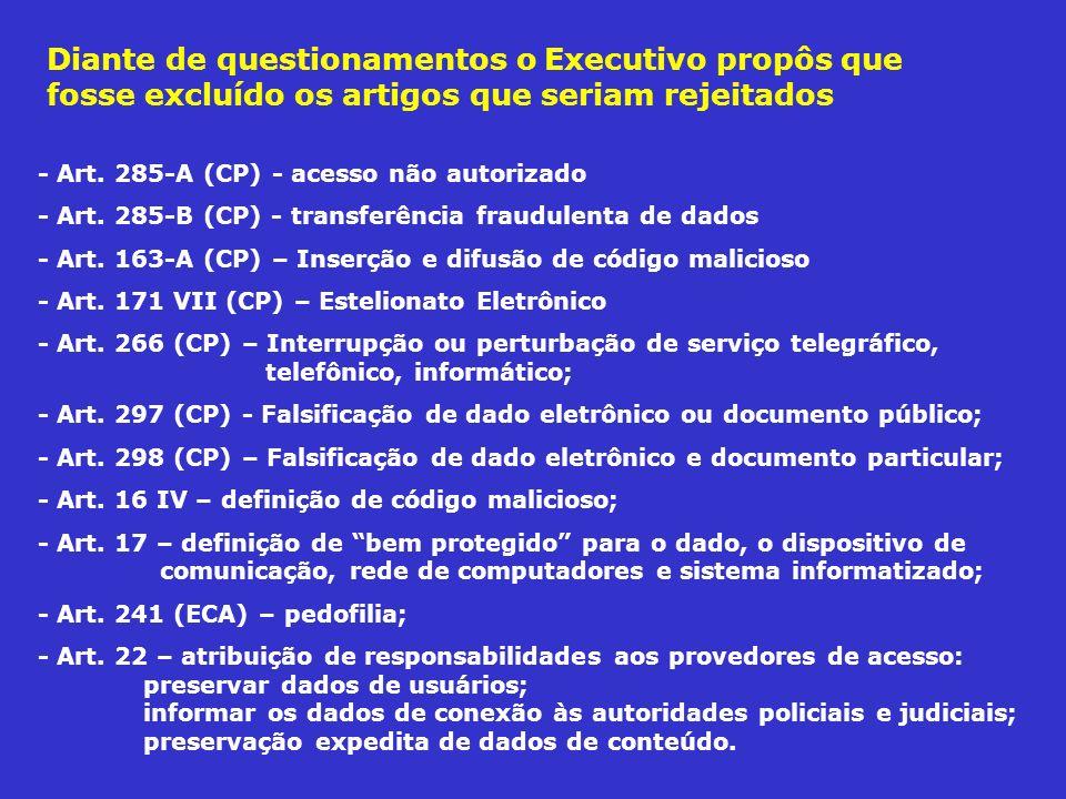 - Art. 285-A (CP) - acesso não autorizado - Art. 285-B (CP) - transferência fraudulenta de dados - Art. 163-A (CP) – Inserção e difusão de código mali